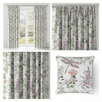 Heather Floral Curtains Lilac Cotton Tape Top Lined Pencil Pleat Curtains