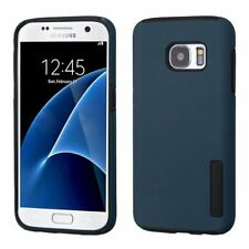 For Samsung Galaxy S7 Blue Black Hard Silicone Hybrid Rubberized Case Cover