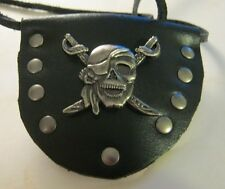 Eye Patch Skull & Crossswards all Leather Handmade Pirate Renaissance cosplay