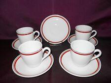 PORCELAINE D'AUTEUIL BISTROT LOT DE 4 TASSES A CAFE + 4 SOUS-TASSES + 1EN CADEAU