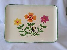 Retro Green 60s Rectangle Vintage Collectible Small 70's Flowers Plastic Tray