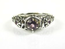 .36ctw Natural Round Amethyst Victorian Deco Sterling Floral Filigree Ring s7
