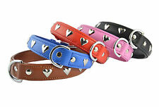 SOFT REAL LEATHER DOG COLLAR HEART STUDS PADDED ANY DOG BREED 5 COLOURS