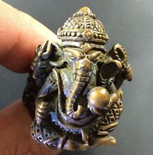 Ganesha Ring Thai Amulet Hindu God Lord Elephant Brass Success Talisman Power