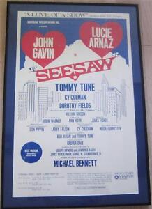 Seesaw 1974 Tour Lucie Arnaz Signed Poster, Tommy Tune Michael Bennett  Lucille