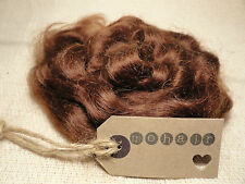 30g (approx 1oz) MOHAIR. Mid Brown- Waves
