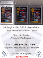 50 Perfect Fit Ultra Pro Magnetic Card Holder Sleeves Clear Self-Seal 100-180 PT
