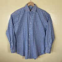 Peter Millar Button Up Shirt Dress Mens Large Blue Plaid Long Sleeve Collared