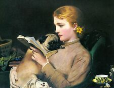 Pug and Young Woman Reading Dog Puppy Dogs Puppies Vintage Poster Print