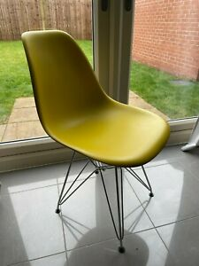 Dwell Eiffel Dining Chairs - Mustard Yellow with Metal Legs - Set of 4