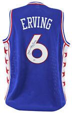"""76ers Julius """"Dr. J"""" Erving Authentic Signed Blue Jersey Autographed BAS"""