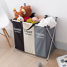 Large 3 Section Laundry Washing Clothes Bag Hamper Sorter Folding Organiser US