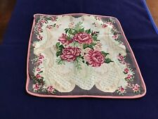 "Needlept Vintage Finished Roses Pillow Multi 14"" Square/Gray Cord back (#694)"