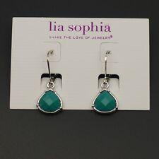 lia sophia jewelry polished silvertone earrings blue beads cute drop dangle hoop