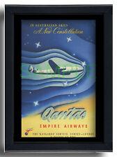 More details for qantas empire airways australia framed repro poster new constellation 1947