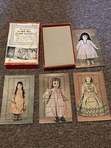New Untouched Vintage Shackman -Japan -Set of Four Antique Doll Jigsaw Puzzles