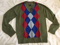 Tommy Hilfiger Argyle Pattern Sweater Jumper Pullover - V Neck - Green - Small S
