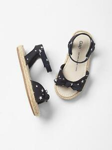 GAP Baby / Toddler Girls Size US 6 Navy Blue / White Espadrilles Sandals Shoes
