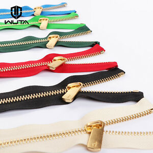 25cm #3 YKK Nylon Zipper Chain Brass Separating Skirt Dress Coil Zippers 2/pk