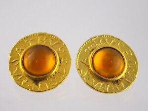 Vintage Unsigned Latin Script Orange Cabochon Clip on Earrings Gold Tone Metal