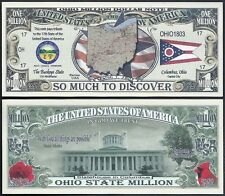 Lot of 500 Bills - Ohio State Million Dollar Bill w Map, Seal, Flag, Capitol