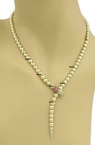 Vintage 1.00Ct White & Ruby Snake 18k Yellow Gold Over Bead Lariat Necklace 16''