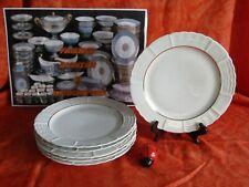 6 Platos Llanos Porcelana de Limoges Decoración Blanco y Oro Lote 3