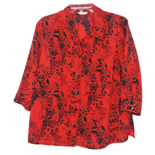 White Stag Womens Size 18/20W Blouse 1 Piece Twin Set 3/4 Sleeve Red Black