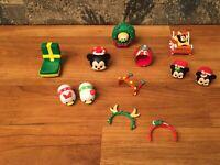 Disney Christmas Tsum Tsum Figure Lot Mickey Mouse, Minnie, Donald Duck