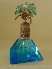 Vintage Gold Leafed Jeweled Basket Blue Glass Irice Perfume Bottle Japan