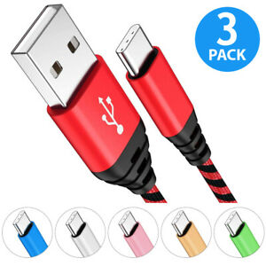 3-Pack USB-C Type C Cable Fast Charger For Samsung Galaxy S8 S9 S10 S20 Note 8 9