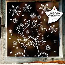 Fensterbilder Weihnachten Elch Schneeflocken WIEDERVERWENDBAR Winter Fensterdeko