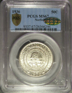 1936 Norfolk Silver Commemorative Half Dollar (50C), PCGS MS 67 CAC