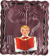 VINTAGE MID CENTURY FOIL CHOIR BOY LANTERN MUSICAL NOTES CHRISTMAS GREETING CARD