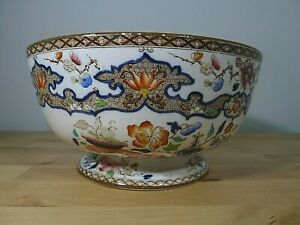 Lovely Antique Mintons Ironstone China Footed Fruit Bowl Chinoiserie c.1912