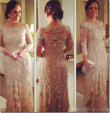 Bling Bling Crystal Long Sleeve Champagne Mother of the Bride Dresses Beading