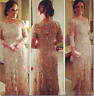 Bling Mother of the Bride Dresses Crystal Long Sleeves Champagne Beading Formal