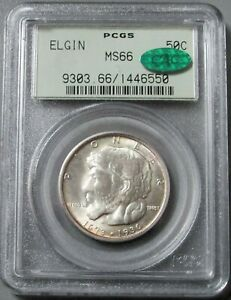 1936 ELGIN PIONEER COMMEMORATIVE HALF PCGS MINT STATE 66 CAC