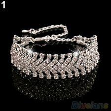 WOVEN WHITE GOLD PLATED  MADE WITH SWAROVSKI CRYSTALS CHAIN BRACELET XMAS PARTY