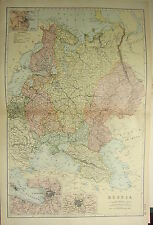 1894 ANTIQUE MAP ~ RUSSIA ~ POLAND FINLAND INSET ST PETERSBURG MOSCOW ODESSA