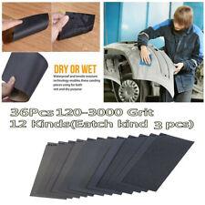 36Pcs 12 Kinds 120-3000 Grit Silicon Carbide Wet Dry Sandpaper Sanding Paper New