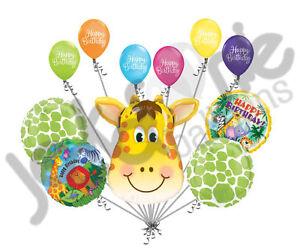 11 pc Jolly Giraffe Happy Birthday Balloon Decoration Party Jungle Zoo Animal