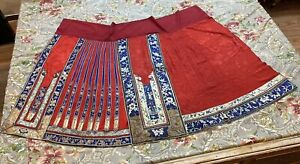 Antique Chinese Qing Dynasty Hand Embroidery Skirt Red  L 99 Cm Waste 120 Cm