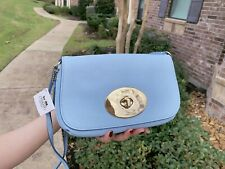 NWT Coach Clutch Pebble Leather Turnlock CrossBody Bag F52896 Pale Blue