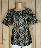 SIMONTON SAYS Women Size Small Short Sleeve Shirt Textured Black/Tan Geo Top