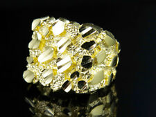 Real 10K Yellow Gold Men's Nugget Style Large Custom Designer Fancy Pinky Ring