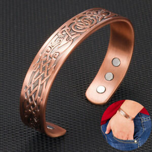 Solid Copper Nordic Bracelet Magnetic Healing Therapy Bangle Arthritis Relief