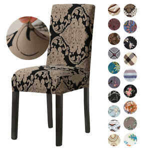 Retro Printed Spandex Stretch Dining Chair Covers Seat Slipcover Party Decor blo
