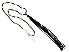 """24"""" Long Gold Tone and Black Crystal Beaded Necklace w Leather Tassel"""