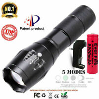 90000LM Tactical T6 Zoomable LED Flashlight Torch Light+18650 Battery & Charger